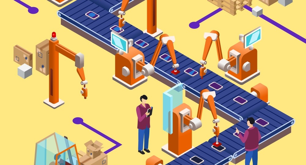 Vector isometric automatic robotic assembly line